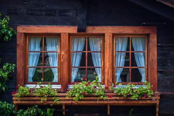 Detail of a swiss window in Zermatt