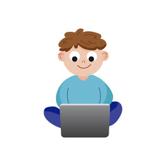 Smiling cartoon little boy sitting and playing using laptop colorful character vector Illustration
