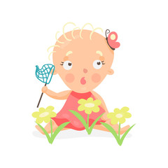 Sweet cartoon baby girl sitting on the meadow with yellow flowers with butterfly net colorful character vector Illustration