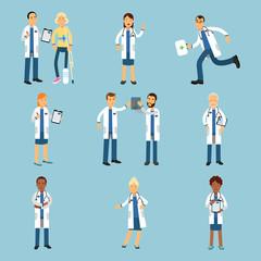 Hospital medical staff, set of practitioner young doctors colorful Illustrations