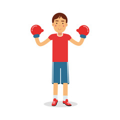 Active boy teen boxer in boxing gloves cartoon character, kids physical activities vector Illustration
