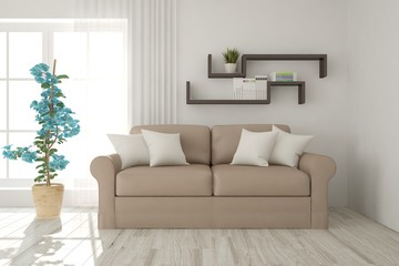 Idea of white modern room with sofa. Scandinavian interior design. 3D illustration