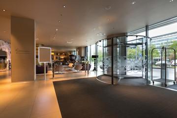 Hotel entrance, lobby interior