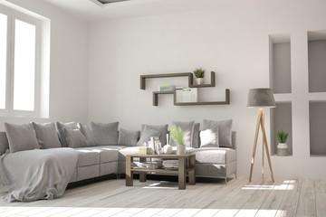 White modern living room with sofa. Scandinavian interior design. 3D illustration