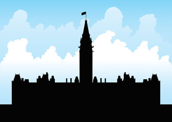 Silhouette of the Parliament Building on Parliament Hill, Ottawa, Ontario, Canada.