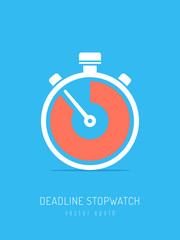 Deadline concept. Stopwatch icon showing running out of time vector illustration