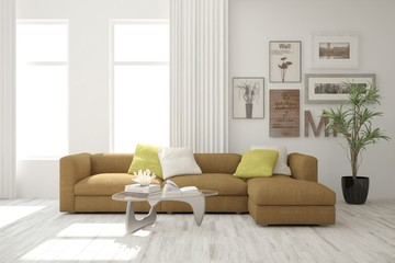 White idea of modern room with sofa. Scandinavian interior design. 3D illustration