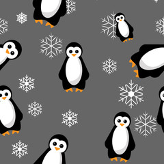 Seamless penguin pattern vector illustration with snowflakes on gray background