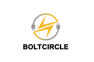 Bolt Circle Logo Design Illustration