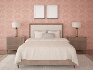 Mock up a classic bedroom with a bed in retro style on a background of stylish wallpaper.