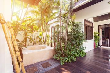 Bath outdoor on luxury Villa garden