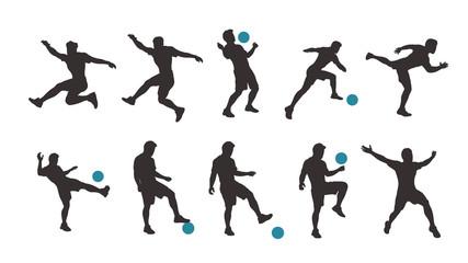 soccer player silhouette set