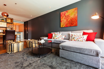 Modern living room interior with red picture on gray wall