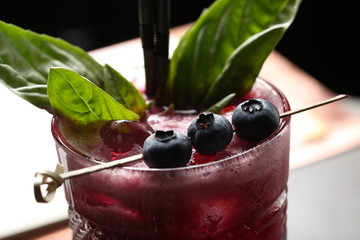 Cocktail with a berries. Close up