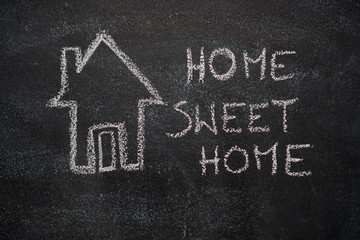 House with home sweet home writing drawn with white chalk on blackboard