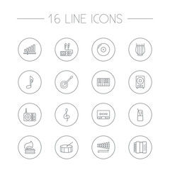 Set Of 16 Song Outline Icons Set.Collection Of Turntable, Pace, Harmonica And Other Elements.