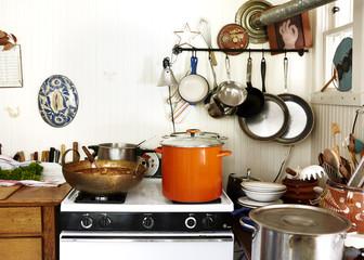 Interior of kitchen with utensils
