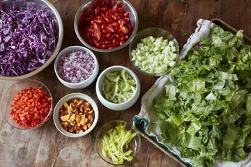 Organic ingredients for chopped salad