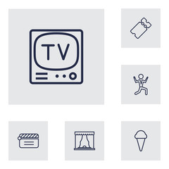 Set Of 6 Pleasure Outline Icons Set.Collection Of Tv Set, Clapperboard, Ticket And Other Elements.