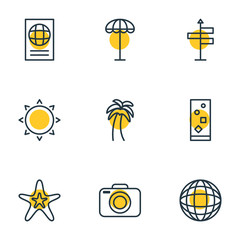 Vector Illustration Of 9 Summer Icons. Editable Pack Of Earth, Certificate, Photo Apparatus And Other Elements.