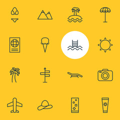 Vector Illustration Of 16 Summer Icons. Editable Pack Of Island , Sunny , Umbrella Elements.