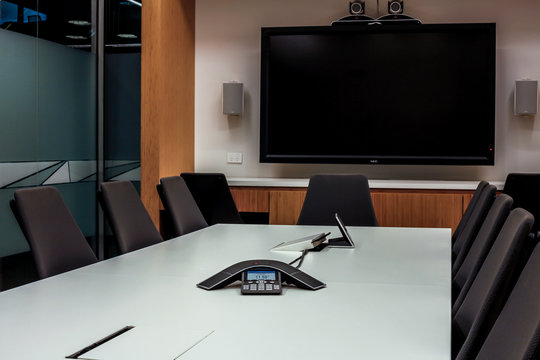 Empty video conference meeting room