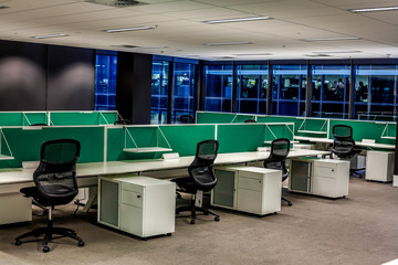 Empty work stations in a modern open space office