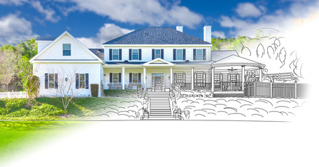 House Blueprint Drawing Gradating Into Completed Building Photograph.