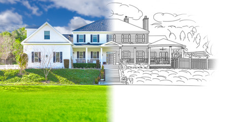 Obraz House Blueprint Drawing Gradating Into Completed Building Photograph. - fototapety do salonu