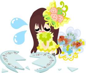 A cute little girl and a goldfish bowl and a broken dish