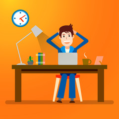 Creative people. Freelancer. Happy Working man. Vector illustration