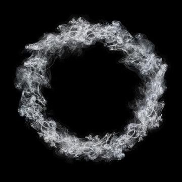circle white smoke frame isolated on black