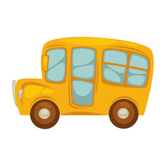 Cartoon yellow bus with big windows islated illustration