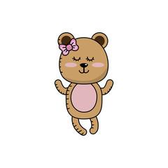 cute bear girl wild animal character