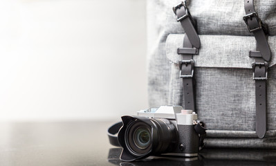 mirrorless camera and lens with backpack
