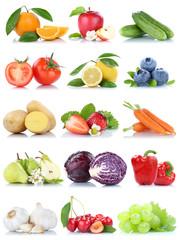 Spoed Foto op Canvas Keuken Obst und Gemüse Früchte Apfel Orange Zitrone Beeren Karotten Paprika Kirschen Freisteller freigestellt isoliert
