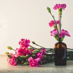 Bright pink carnations flower in the japanese glass vase on table . Vintge image style