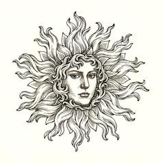Мистическое солнце, женское лицо в ореоле пламени. Декоративный рисунок тушью на белом фоне.