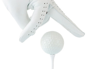 Golfer use two fingers holding golf ball on tee with white background, sport golf concept.
