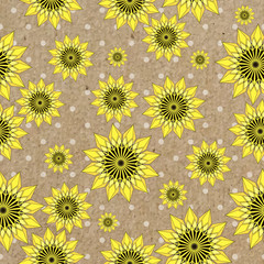 Vector seamleess background with yellow sunflowers on kraft paper