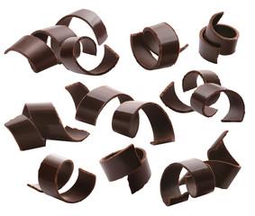 Dark chocolate curls set 2 isolated