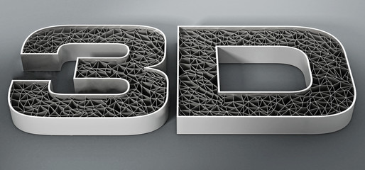 Printed mesh 3D text on gray background. 3D illustration