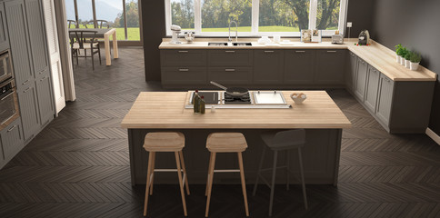 Modern scandinavia kitchen with big windows, panorama classic white and gray interior design