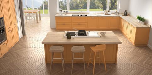 Modern scandinavia kitchen with big windows, panorama classic white and orange interior design