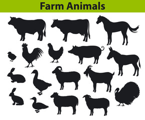 farm animals silhouettes set with cow, horse, bull, sheep, goat, donkey, duck, turkey, rabbit, hen, chicken