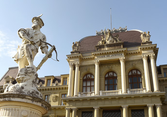 Palace of Justice, District Court of Lausanne and sculpture of William Tell in Lausanne, Switzerland