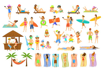 Collection of people having fun on summer vacations. Man, woman, family,couple,children relaxing, sunbath on beach, making selfie, work on pc, drinking cocktails in bar, lying on sun chair, hammock