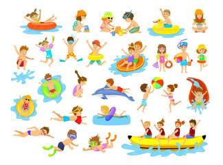 Children summer holidays fun activities at beach on water. Boys and girls swim, dive, jump, sliding in aquapark, floating on mattresse, making sand castle, snorkeling, riding banana boat and dolphin