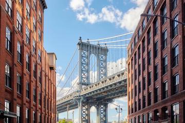 Manhattan Bridge seen from Dumbo, New York, USA.