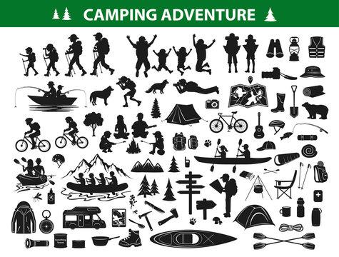 camping hiking silhouette collection set. people trekking, navigating, sitting at campfire tent, kayaking, rafting, fishing, mountain biking. Campsite gear backpack, sleeping bag map, caravan,